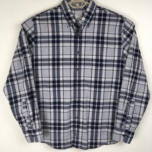 J Crew Mens L Tailor Button Shirt Blue Gray Plaid